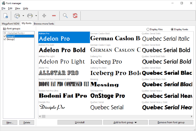Organize your fonts in groups