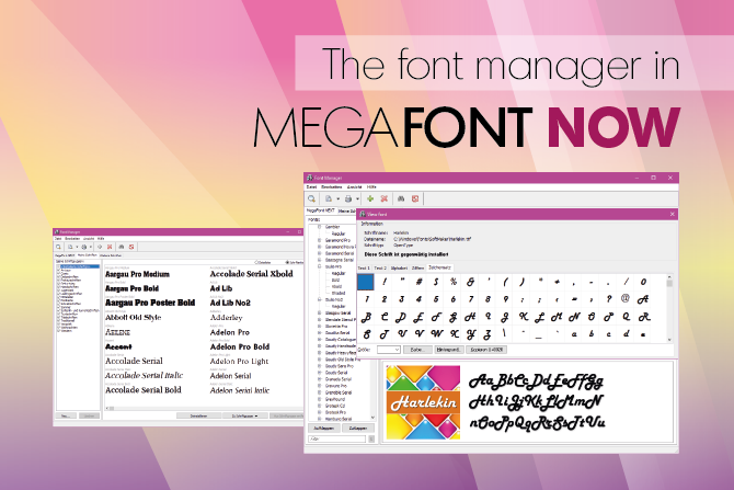The font manager in MegaFont NOW