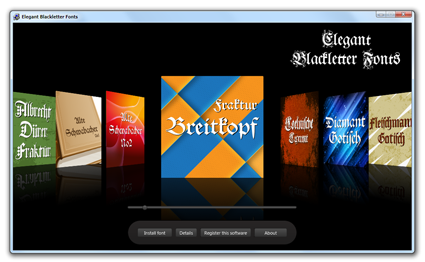 Elegant Blackletter Fonts: font manager
